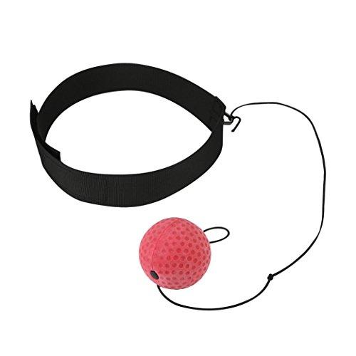Xshuai 100 cm Einstellbar Kampfkugel Mit Kopfband Für Reflex Speed Training Boxing Boxer Übung Für Kickboxen, Muay Thai, Taekwondo (Rot) - 2