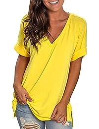 Camisetas Mujer SUNNSEAN Blusas de Color Liso Cuello en V Color Liso Estampado de Flores Transpirable Casual Sauve Camisas de Mangas Cortas Camisas T-Shirt Tops Verano Camisola