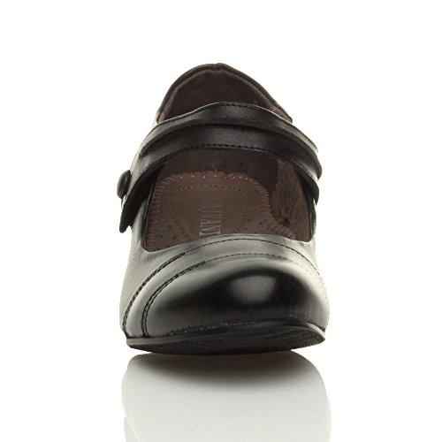 Damen Mittelblockabsatz Komfort Leder Grund Einfach Mary Jane Pumps Schuhe Größe Schwarz