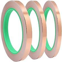 meetory 3x Lámina de cobre blindaje de cinta, cinta con doble con adhesivo, para blindaje Emi, Craft, reparaciones eléctricas–Conductive Adhesive, ancho 5mm/6mm/12mm