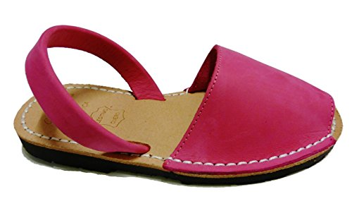 Sandales authentiques minorquines pour les enfants, différentes couleurs. Avarcas menorquínas Fucsia nobuck