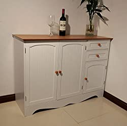 Homecharm-Intl 110x40x78CM Wooden storage cupboard cabinet sideboard,white with veneer top (HC-001)