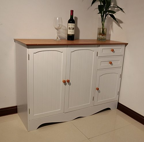 Homecharm-Intl HC-001 Aparador para mueble armario de madera, blanco con tapa de...