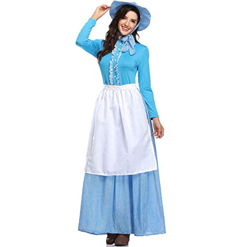 Maid Kostüm Adult Gothic - XSH Idyllische Damenbekleidung Halloween Adult Maid Service COS Märchen Colonial Kleid,Blau,XL