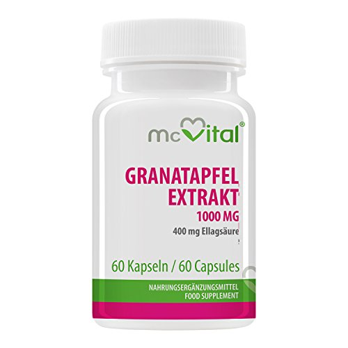 Granatapfel Extrakt 1000 mg - 400 mg Ellagsäure - enthält Polyphenole - Antioxidant - gesunde Zellen 60 Kapseln