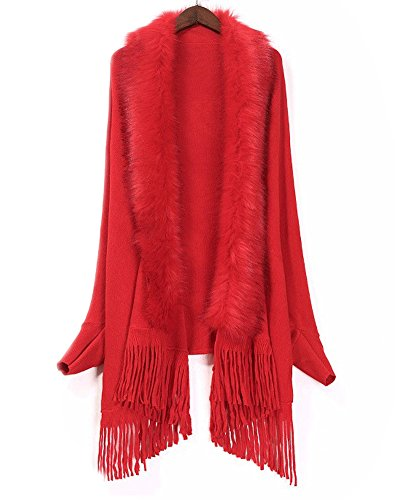 FOLOBE - Poncho -  donna Red