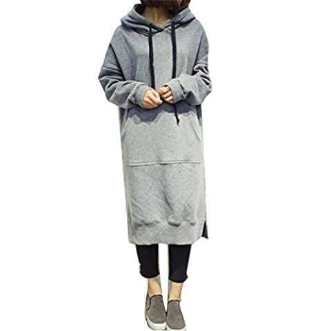 irina Automne Femmes Mode Sweat à capuche à manches longues en chemisier (5XL, Gris)