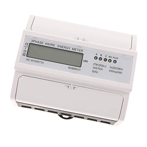B Blesiya DIN-Schienen-Energiezähler Digital LCD 3-Phase 4Draht 7P Elektronisches KWh-Meter - Weiß 5(30A) -