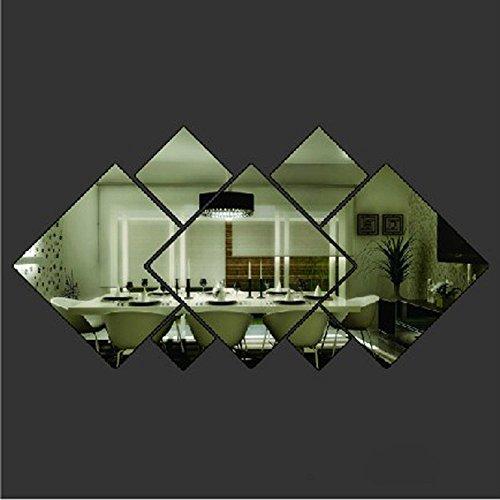 Ufengke® 3D FD'orme De Diamant Effet De Miroir Stickers Muraux Design À La Mode Art De Décalque Décoration De La Maison Argent