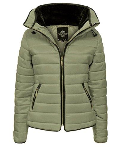 Top Fashion Damen Celeb Inspiriert Klassische Padded Bomber-Jacken Größe 36-42 Beige