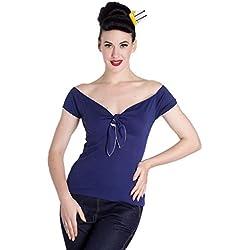 """Blusa Top Jersey de estilo Rockabilly de los 50's """"Hell Bunny Bardot"""" - Azul Marino (XL - ES 44)"""