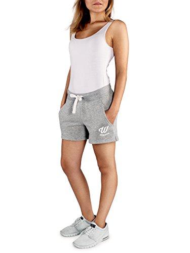 WOLDO Athletic Damen Sweatshorts Trainingshose Shorts Kurze Hose Sport Fitness Gym Freizeit (L, Hellgrau)