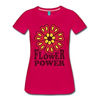 Flower Power Blume Frauen Premium T-Shirt von Spreadshirt, S, dunkles Pink