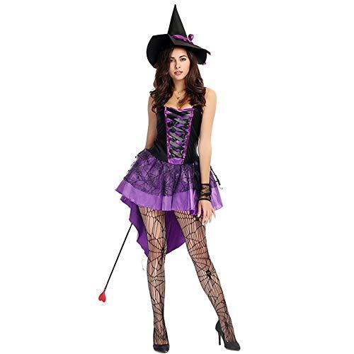 Kostüm Bügel Spitzen - CJJC Kreatives sexy Frauen-Geist-Partei-Kostüm, purpurrote Hexen-Kleider mit Spitze-Kreuz-Bügeln Ideal für Halloween-Leistungsgebrauch M