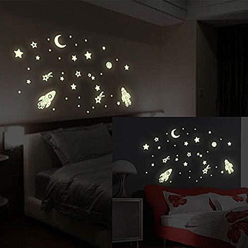 Prevently Glühen Im Dunkeln, aus PVC,Leuchten Raumschiff Sterne Mond Aufkleber Glühen in der Dunkelheit Leuchtstoff Aufkleber Für Kinderzimmer Zimmer Home Dekorative Aufkleber (Glühen In Den Dunklen Sternen)