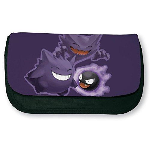 Trousse noire de maquillage ou d'école Famille fantominus Pokemon violet - Fabriqué en France - Chamalow shop