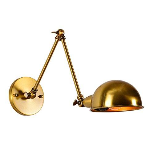 Pointhx Metall Wandleuchte leuchtet minimalistisch einstellbare Schwinge Eisen Wandleuchte Laterne mit Gold Metall Lampenschirm für Innen Küche Schlafzimmer Wohnzimmer Leuchten (Größe : 50+50cm) -