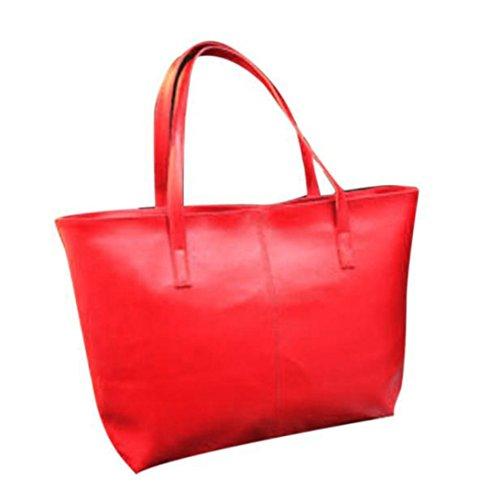 ZARU Bolso de la señora hombro bolsa de asas de la PU bolso de cuero (Rojo)
