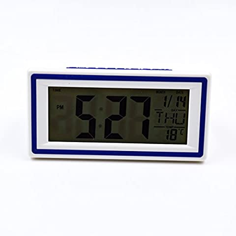 Hippih LCD Digital Alarm Clock Back light Time Calendar Temperature World Time Bedside Desk Snooze Clock , Battery Operated (White)