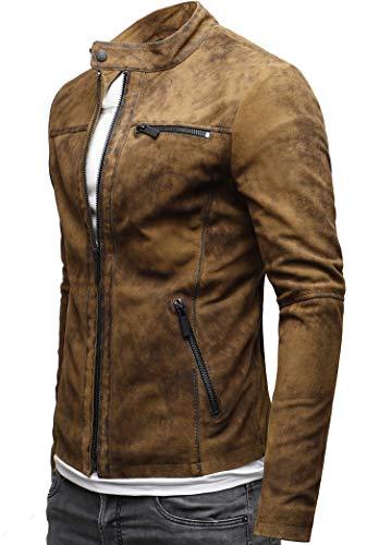 CRONE Epic Herren Lederjacke Cleane Leichte Basic Jacke aus weichem Schafs-Leder (XL, Vintage Braun (Wildleder)) - 2