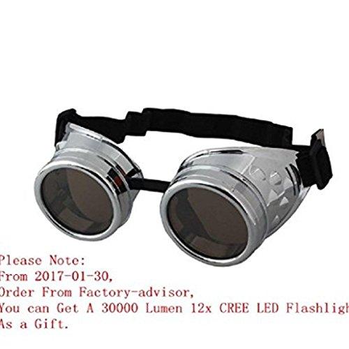 Gemini _ Mall® Vintage Style Steampunk Schutzbrille Schweißen Punk Gläser Cosplay Gelb, silber