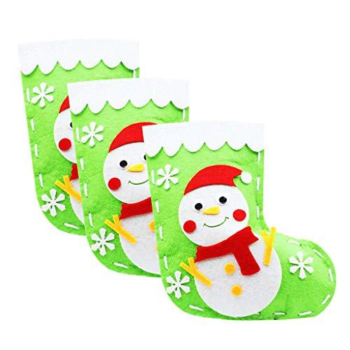 perfk 3X Weihnachten Vlies Filz Applique Kit für Weihnachtsstrumpf Geschenk - Schneemann (Weihnachtsstrumpf Filz Kit)