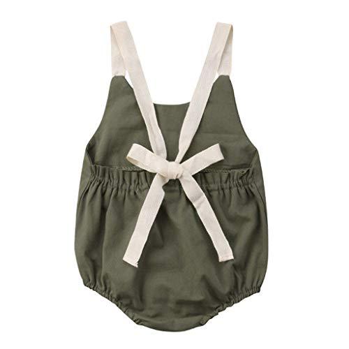YWLINK Neugeborenes Baby Sommer MäDchen Bogen RüCkenfrei Strampler Volltonfarbe Bequem Bodysuit Outfits Kleidung(Grün,70)