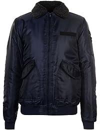 Fabric Mens Borg Bomber Jacket Coat Top Zip Fur Trim Faux Fold Over Collar