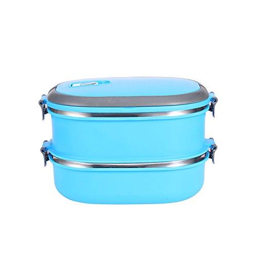 Zjchao porta pranzo impilabile portatile in acciaio inossidabile per isolamento contenitore termico di contenitori alimentari strati ermetici termico con manico (blu 2capas)
