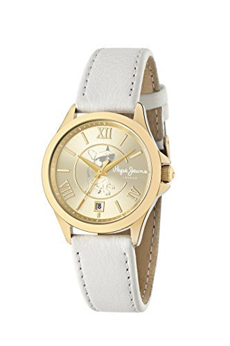 Orologio Donna PEPE JEANS KATY R2351114501 Pelle Bianco Gold Dorato London Lady