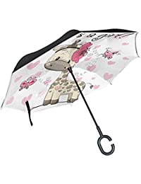 Orediy Paraguas invertido para Baby Shower, Jirafa de Doble Capa, Paraguas Grande para el