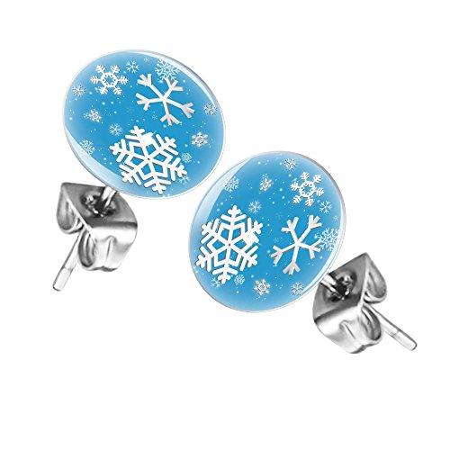 Mianova Ohrringe Stecker Rund Klein Ohrstecker Runde Platte Silber mit Winter Weihnachts Motiv Schneeflocke Blau Weiß