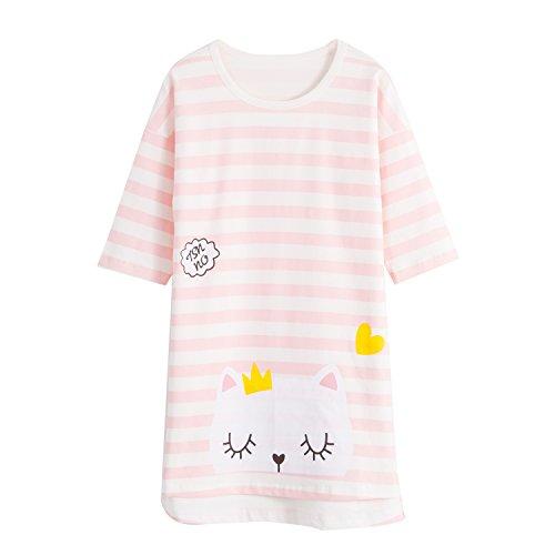 Katze Nachthemden für Mädchen 3/4-Arm Kinder Schlafanzüge Rundkragen Rosa Tierdruck 7 Jahre