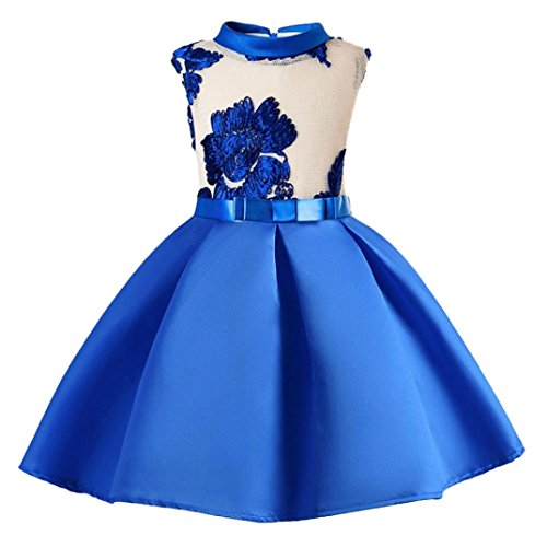 JERFER Blume Mädchen Prinzessin Brautjungfer Festzug Tutu Tüll-Kleid Party Hochzeit Kleid 3-8T/Jahre (Blau, - 50er Jahre Kleinkind Jungen Kostüm