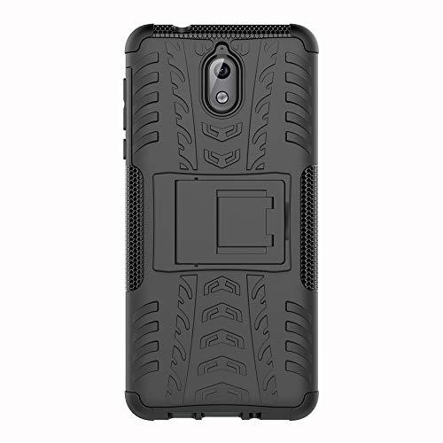 SHIEID Nokia 3.1-Hülle Tough Hybrid Armor Case,Diese Handyhülle Anti-Wrestling Travel Essential Faltbare Halterung für Nokia 3.1(Schwarz)