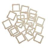 Morning May 20 Stück 50 x 50 mm quadratische Holz-Form Vintage DIY Ausschnitte Holzrahmen Mini-Fotorahmen für Scrapbooking Basteln DIY Windspiele Hochzeit Zuhause Dekoration