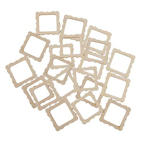 k 50 x 50 mm quadratische Holz-Form Vintage DIY Ausschnitte Holzrahmen Mini-Fotorahmen für Scrapbooking Basteln DIY Windspiele Hochzeit Zuhause Dekoration ()