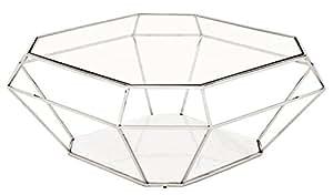 Casa Padrino Art Deco Table basse verre/Nickel Finition de luxe–Table en verre–Luxe Collection