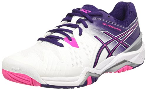 Asics Gel-Resolution 6 W, Chaussures de Tennis Femme Multicolore (White/Parachute Purple/Hot Pink)