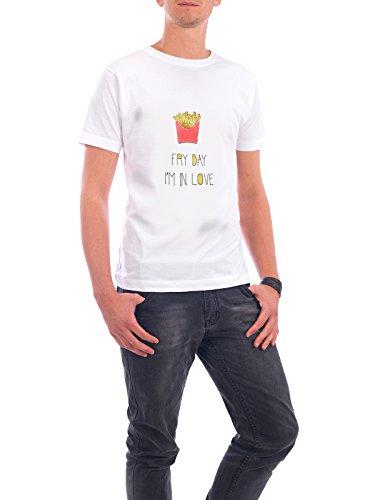 """Design T-Shirt Männer Continental Cotton """"FRY DAY I'M IN LOVE GOLD"""" - stylisches Shirt Typografie Essen & Trinken von Dunja Krefft Weiß"""
