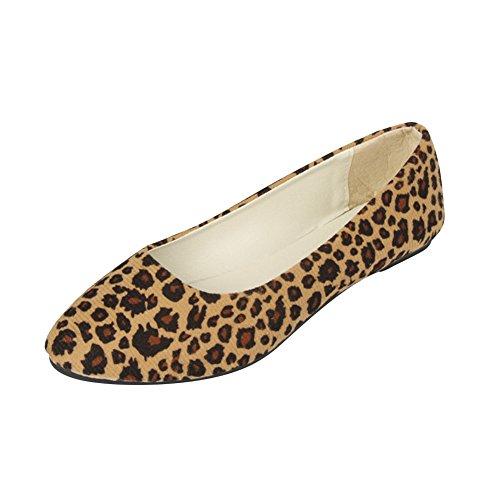 Mujer Zapatos Planos Bailarinas Estampado Leopardo Zapatos de Verano Casuales y Cómodos,Beige Leopardo,EU...