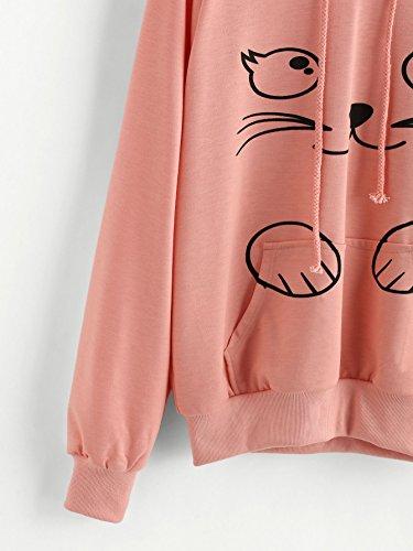 ROMWE Sweat-shirt à capuche femme contrasté avec poche oreilles Rose