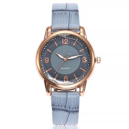 Uhren Dellin V245 Damen Beiläufige Bælte Quarz Edelstahl Band Marmorband Uhr analoge Armbanduhr (Blau)