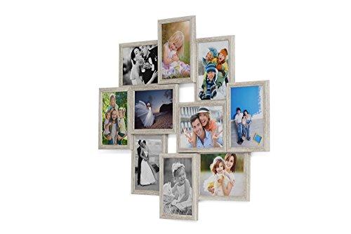 Fotogalerie für 10 Fotos 13x18 cm - 3D Optik - 1002 Bilderrahmen Bildergalerie Fotocollage Rahmenfarbe Altes Holz