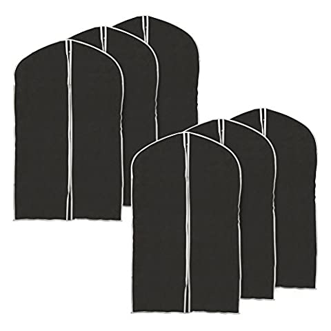 EZOWare Set of 6 Foldable Breathable Garment Bag Storage Cover Bag Protector for Suit, Coat, Fur Outfit, Leather Jacket, Top Shirt, Tuxedo and More Clothes- Black with Gray Trim