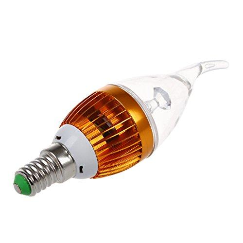 TOOGOO(R) E14 3 Bombilla LED de lampara de la vela de blanco calido regulable 3600K AC 220V 3W de alta potencia
