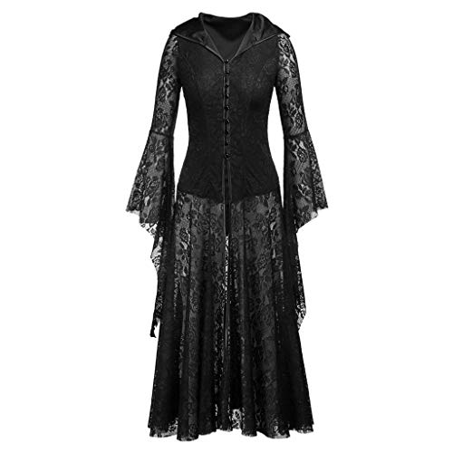 Lomelomme_Halloween Cosplay Kleid Damen Schwarz Kleider Lang Spitze Party Halloween Langärmliges Kleid Halloween Party Kostüm Kleid Frauen Halloween Kostüm Skelett Nachtclub Queen (c-Black, XL) (Skelett Kleid Kostüm)
