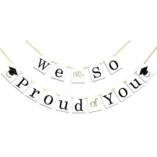 Abschluss Banner We are So Proud of You Girlande Banner Foto-Requisit für Graduierung Dekorationen Party Supplies Graduate Banner Perfekte für Kinder Männer und Frauen