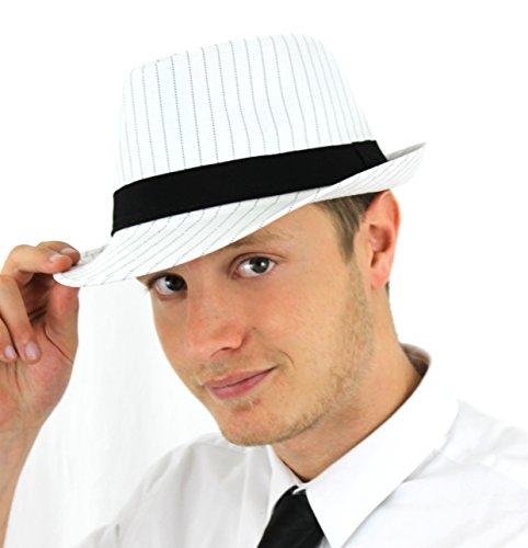 Erwachsene Herren Damen Schwarz oder Weiß 1920er Gangster Nadelstreifen Great Gatsby Bugsy (Film) Malone Trilby Fancy Kleid hat, Weiß