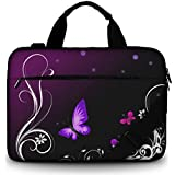 Silent Monsters Laptop bag case 15.6 inch made of Canvas with pocket for accessories, Design: purple butterfly